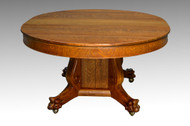 SOLD Antique Victorian Round Oak Split Base Table w/ 3 Leaves *REDUCED PRICE*