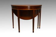 SOLD Antique Mahogany Demi Lune Game Table by Kittinger