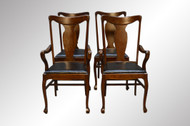 SOLD Antique Set of Four Tiger Oak Victorian Dining Chairs - Twin Arms