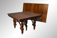 "SOLD Victorian Walnut Banquet Table with 6 Skirted 12"" Leaves-OPENS 10 FEET!!!"