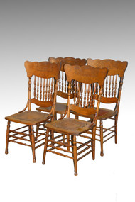 SOLD Set of 4 Victorian Pressback Dining Chairs