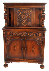 SOLD Oak Carved Jacobean Bar Cabinet **REDUCED PRICE**