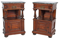 SOLD Pair of Walnut Victorian Marble Top Night Stands