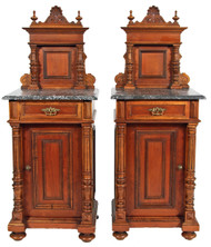 SOLD Pair of Exceptional Marble Top Victorian Nightstands