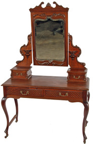 SOLD Mahogany Victorian Carved Bevel Glass Ladies Vanity