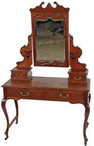 SOLD Mahogany Victorian Carved Bevel Glass Ladies Vanity