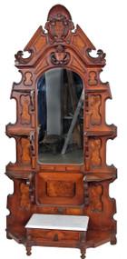 SOLD Victorian Burl Walnut Marble Top étagère - Civil War Era