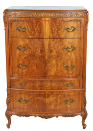 SOLD French Flame Mahogany Tall Carved Chest