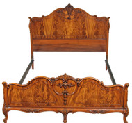 SOLD French Victorian Flame Mahogany Carved Bed