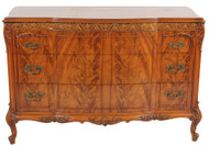 SOLD French Carved Flame Mahogany Chest