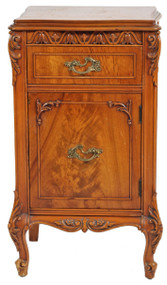SOLD French Victorian Flame Mahogany Carved Nightstand