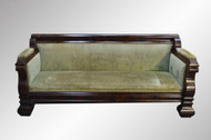 SOLD Antique Civil war Era Empire Period Flame Mahogany Sofa
