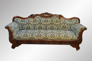 SOLD Antique French Empire Hand Carved Rose Sofa