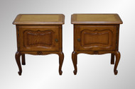 SOLD Pair of French Raised Panel Tiger Sawn Oak Nightstands