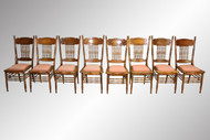 SOLD Antique Set of Eight Larkin Number One Oak Press-back Dining Chairs