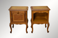 SOLD Pair of French Oak Raised Panel Carved Nightstands - Unusual