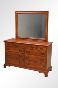 SOLD Cherry Chippendale Large Dresser with Matching Mirror