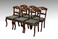 SOLD Set of 6 Period Flame Mahogany Civil War Era Empire Dining Chairs