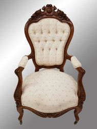 SOLD Antique Victorian Exceptional Civil War Era Hand Carved Arm Chair