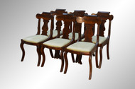 SOLD Antique Set of 6 Flame Mahogany Empire Dining Chairs