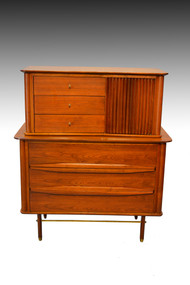 SOLD Walnut and Teak Tall Chest – Modernism