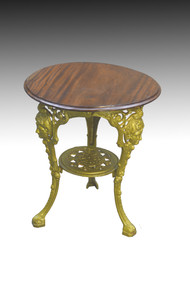 SOLD English Cast Iron Pub table with Cupid Heads