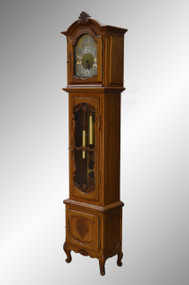SOLD Oak Carved Grandfather Clock – French