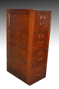SOLD Oak Four Drawer Standard Size File Cabinet