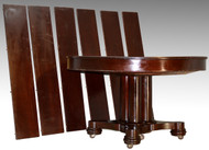 SOLD Round Mahogany Split Pedestal Empire Dining Banquet Table - 6 Leaves