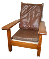 SOLD Mission Arm Chair with Leather Cushions