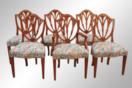 SOLD Antique Set of Six Solid Mahogany Shield Back Dining Chairs