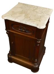 SOLD Victorian Marble Top Half Commode / Nightstand