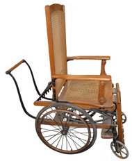 SOLD Very Rare Victorian Oak Wheel Chair Wheelchair - Made by Sargent Company of New York