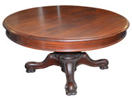 "SOLD Antique 60"" Banquet Art Nouveau Dining Room Table - Opens 12 FEET!"