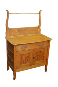 SOLD Oak Victorian Commode / Wash Stand with Towel Bar