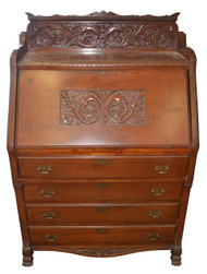 18214 Victorian Carved Mahogany Slant Top Desk