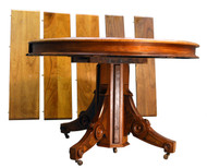 "SOLD Round Victorian Burl Walnut 45"" Dining Table"