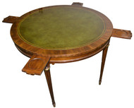 SOLD Mahogany Formal Leather Top Poker Table