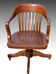 SOLD Oak Barrel Back Lawyers Office Swivel Chair