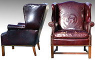 SOLD Two Leather Wingback Chippendale Chairs - Shabby Chic