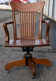 SOLD Antique Victorian Tiger Oak Lawyers Swivel Office Chair - Beautiful