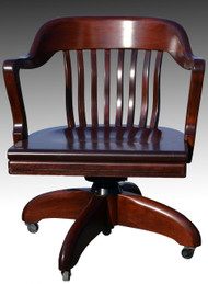SOLD Barrel Back Mahogany Swivel Office Chair