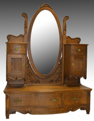SOLD Unusual Oak Victorian Carved Dresser with Bevel Mirror
