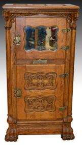 18219 Rare Lion Head Mirror Ice Box by Belding