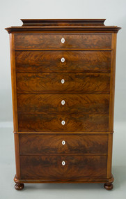 SOLD Period Beidermeier Flame Mahogany Seven Drawer Chest REDUCED PRICE!