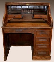 SOLD Oak Raised Panel Roll Top Desk
