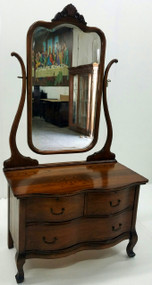 SOLD Oak Ladies Princess Dresser with Tall Bevel Glass Mirror