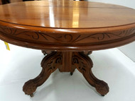 SOLD Victorian Carved Walnut Dining Table – 4 Leaves