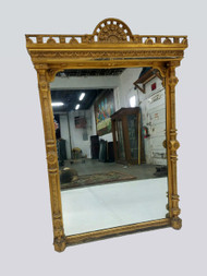 SOLD Gold Gilded Hall Mirror with Pillars of Victorian Era
