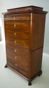 SOLD Antique Flame Mahogany Beidermeier Seven Drawer Period Chest